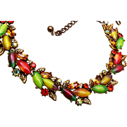 ART Fall Colored Glass Stone Necklace