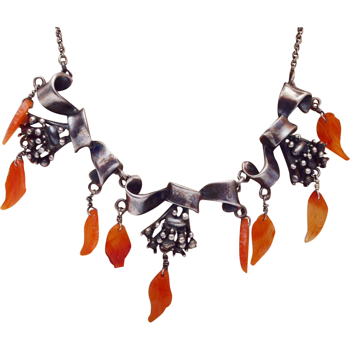 Sterling and Carnelian Necklace