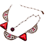 Red Art Deco Rhinestone and Enamel Necklace