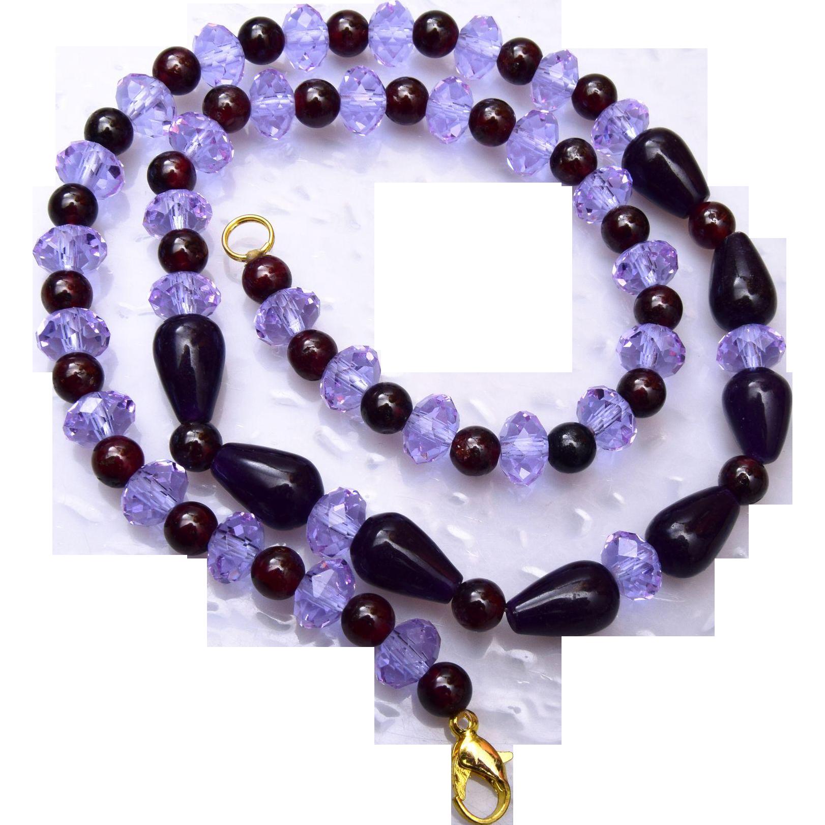 Color Change Alexandrite and Garnet Necklace