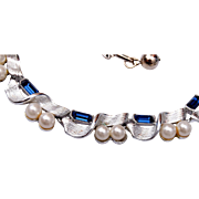 Lisner Faux Pearl and Blue Rhinestone Necklace