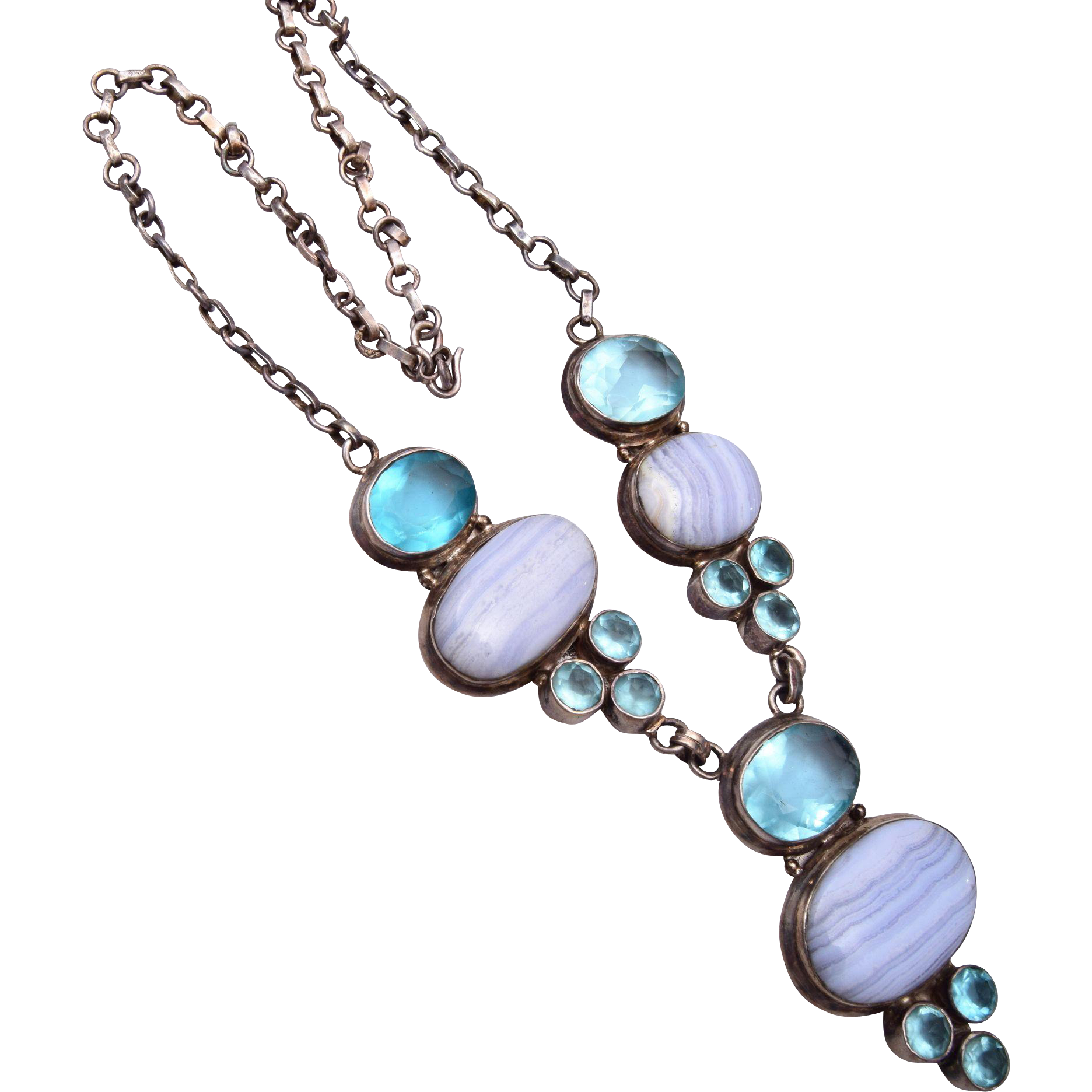 Sterling Aqua Glass and Lace Agate Necklace