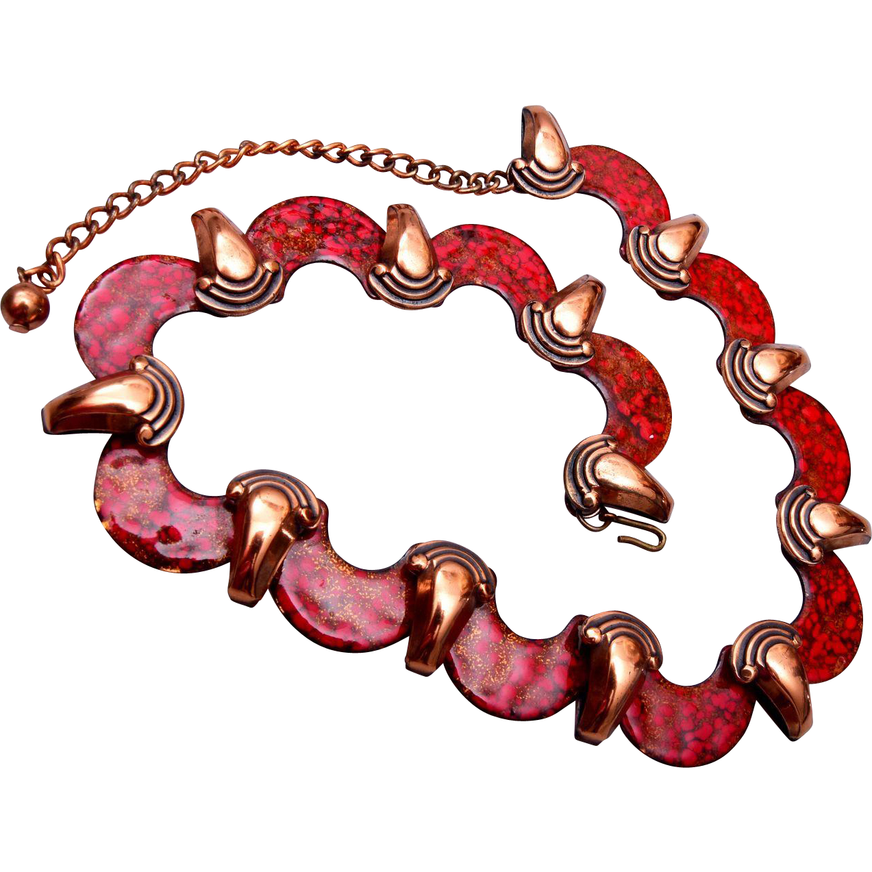Matisse Renoir Red Enameled Necklace