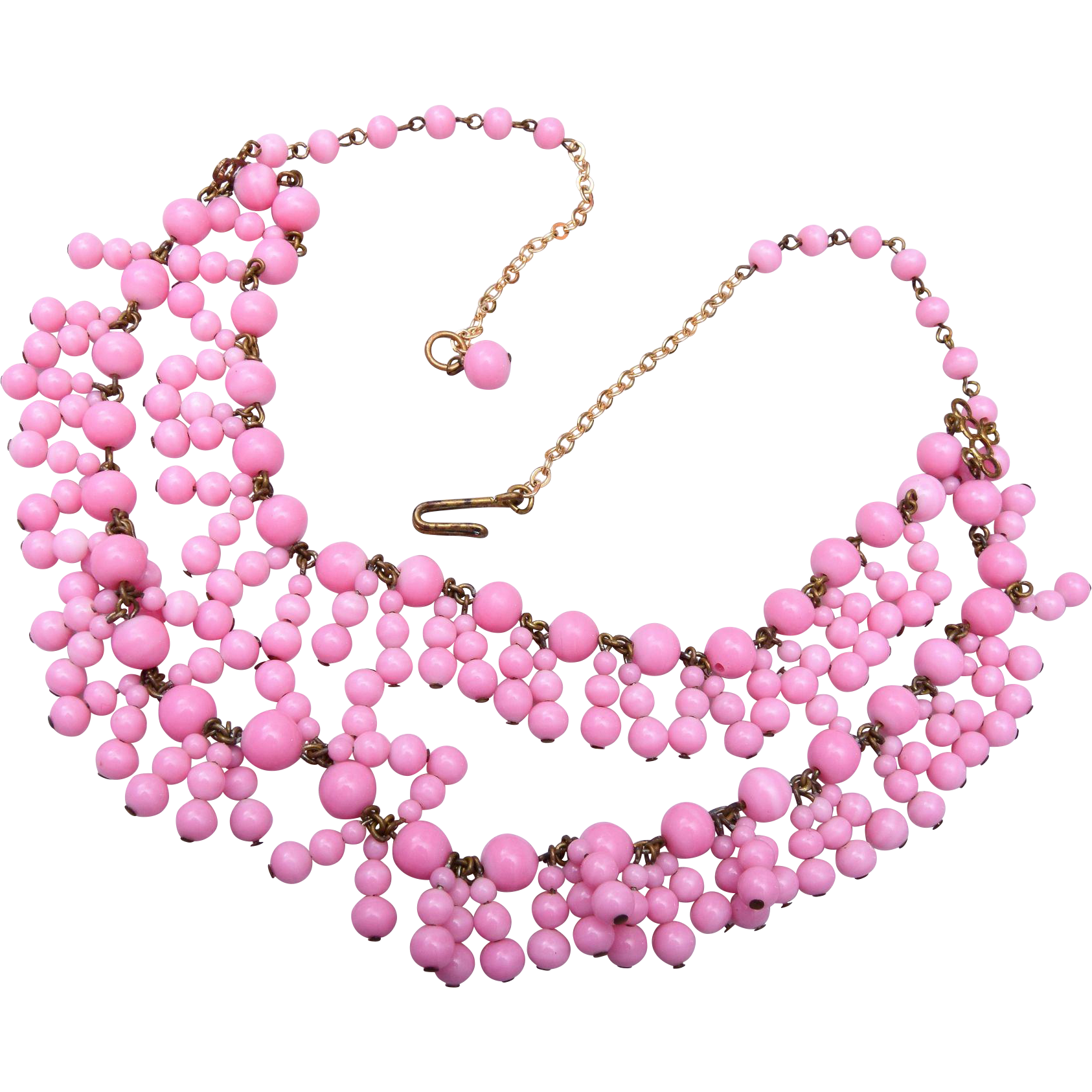 Beautiful Pink Dangling Glass Necklace