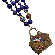 Chinese Filigree and Enameled Lapis Necklace
