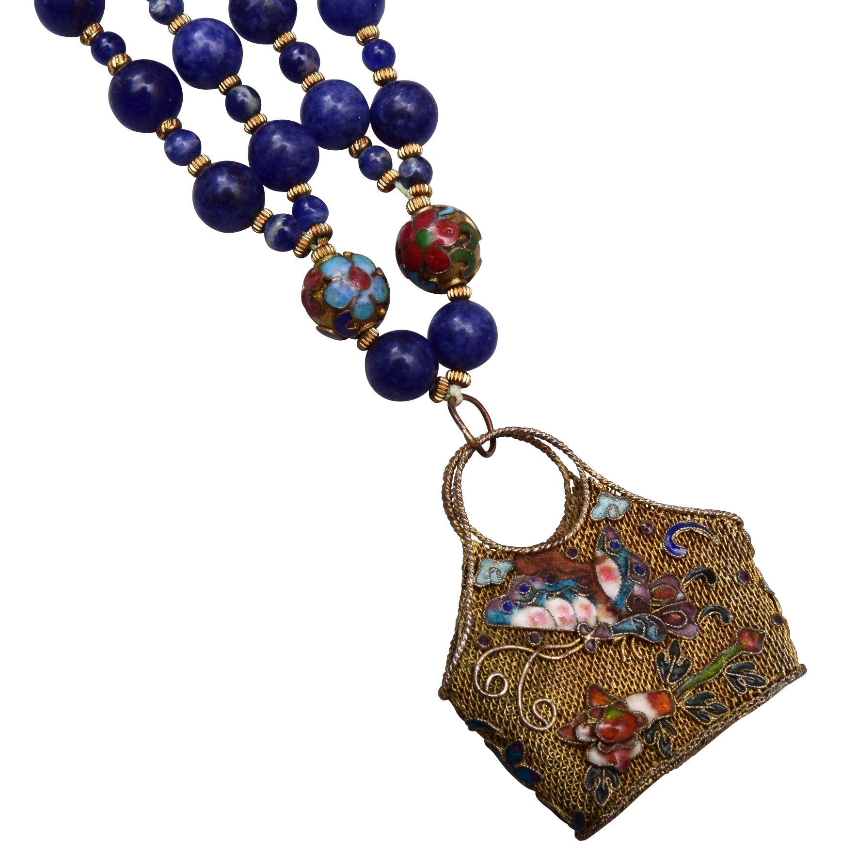 Chinese Filigree and Enameled Basket and Lapis Necklace