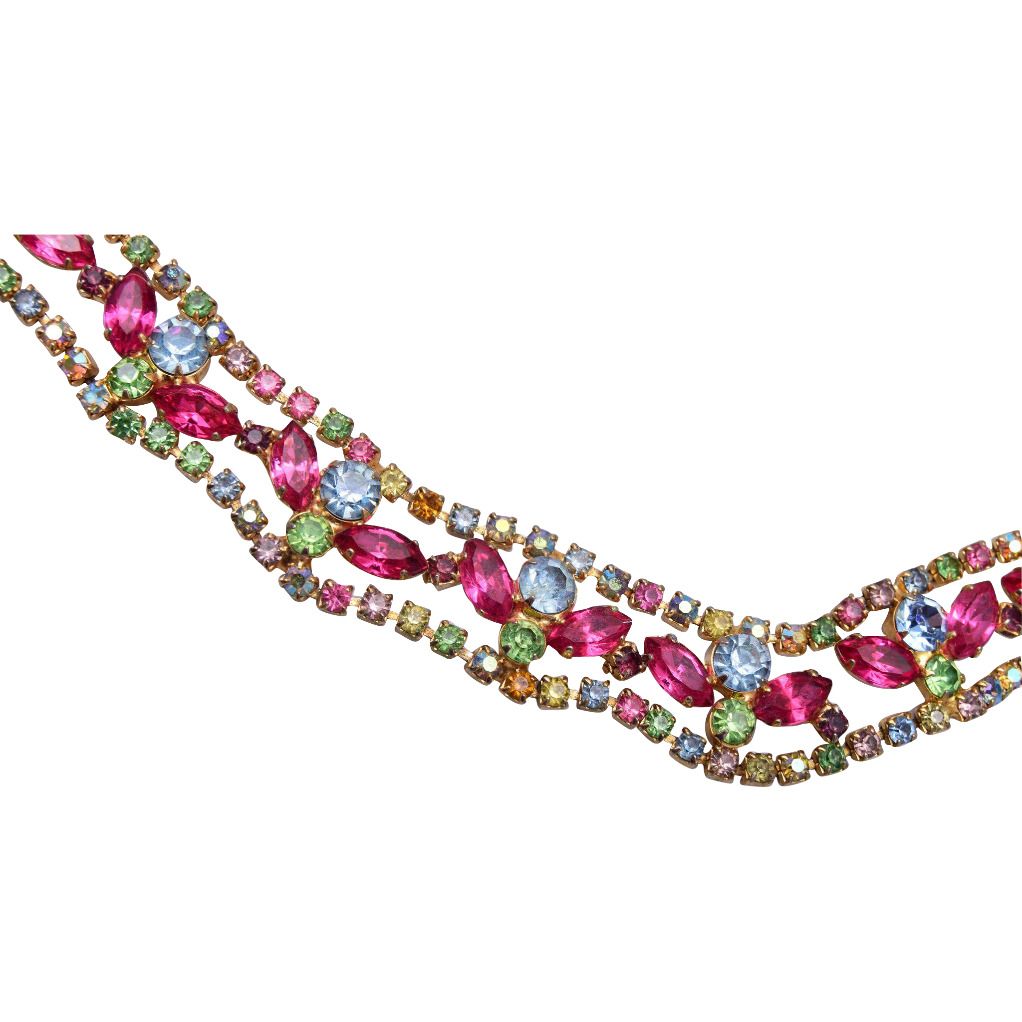 Multiple Color Pastel Rhinestone Necklace