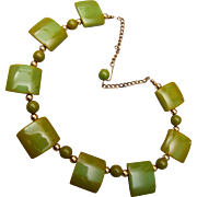 Olive Green Bakelite Necklace