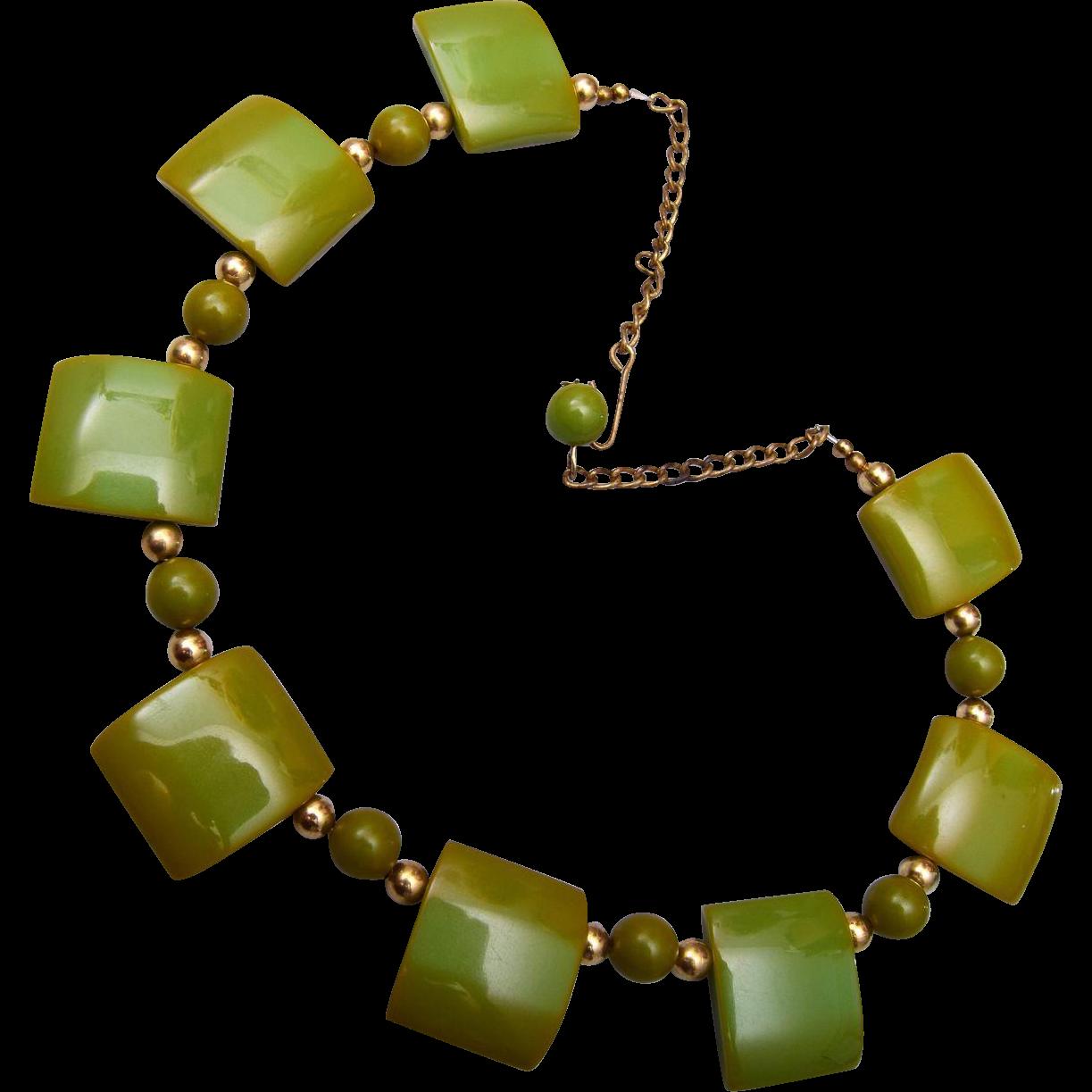 Olive Green Bakelite Necklace