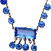 Sterling and Blue Bezel Set Art Deco Crystal Necklace