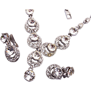 Bogoff Brilliant Rhinestone Necklace and Earring Set