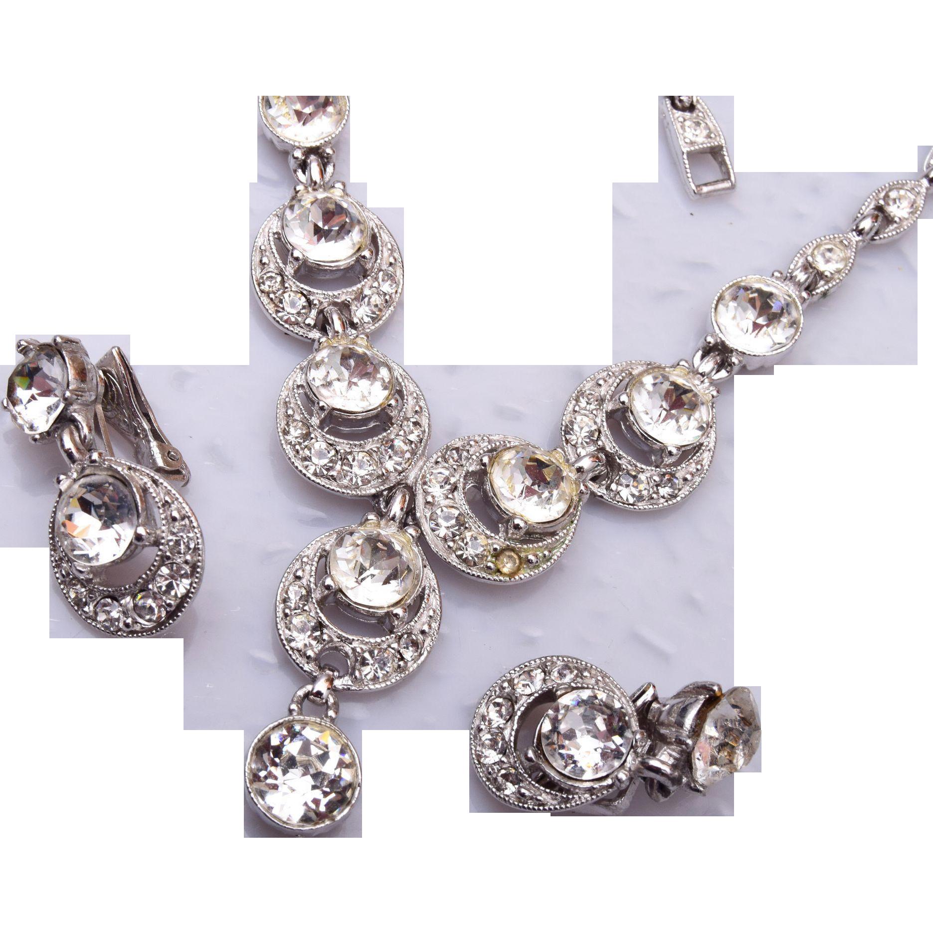Bogoff Brilliant Rhinestone Necklace and Earring Set