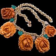 Carved Bakelite Roses Necklace