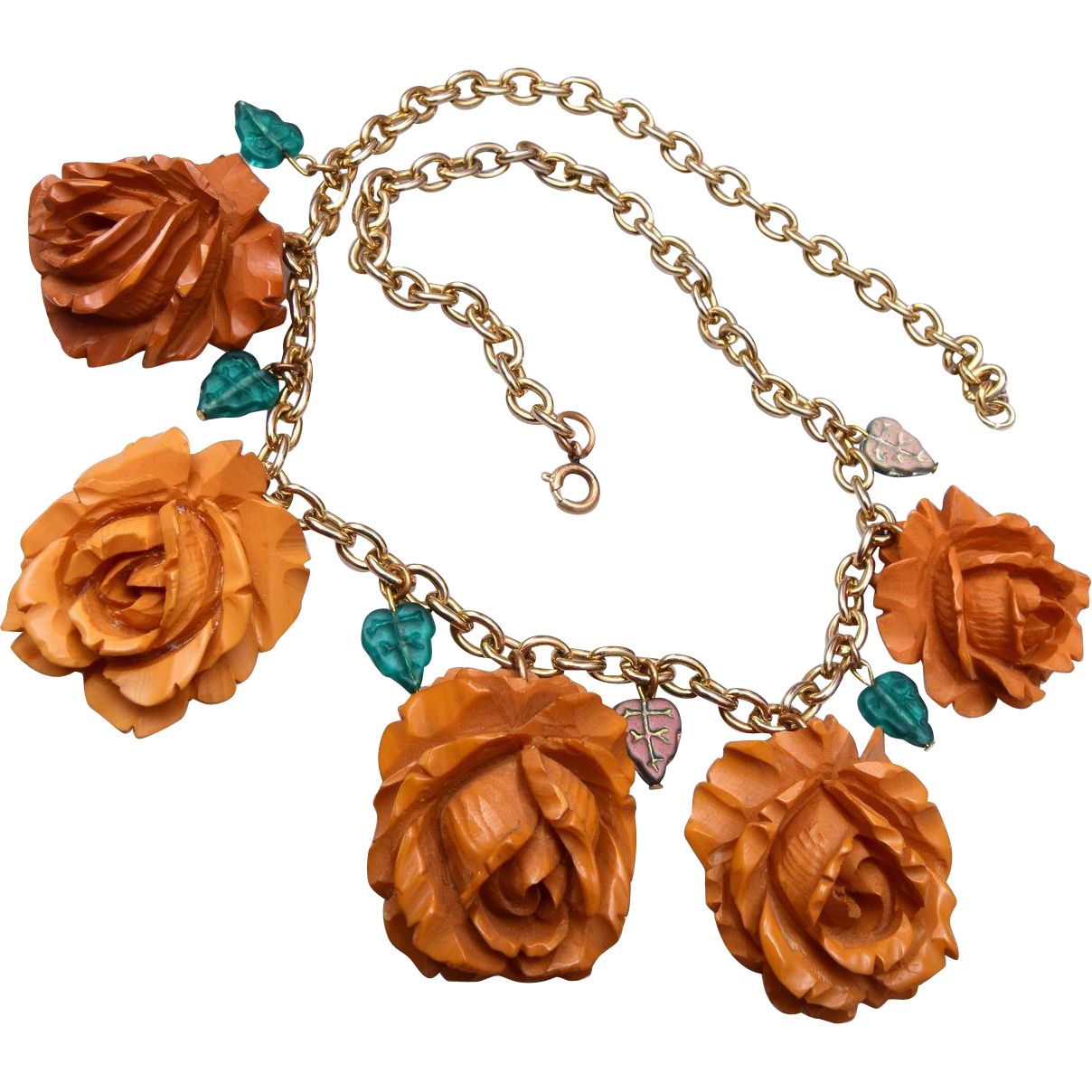 Carved Bakelite Roses Necklace