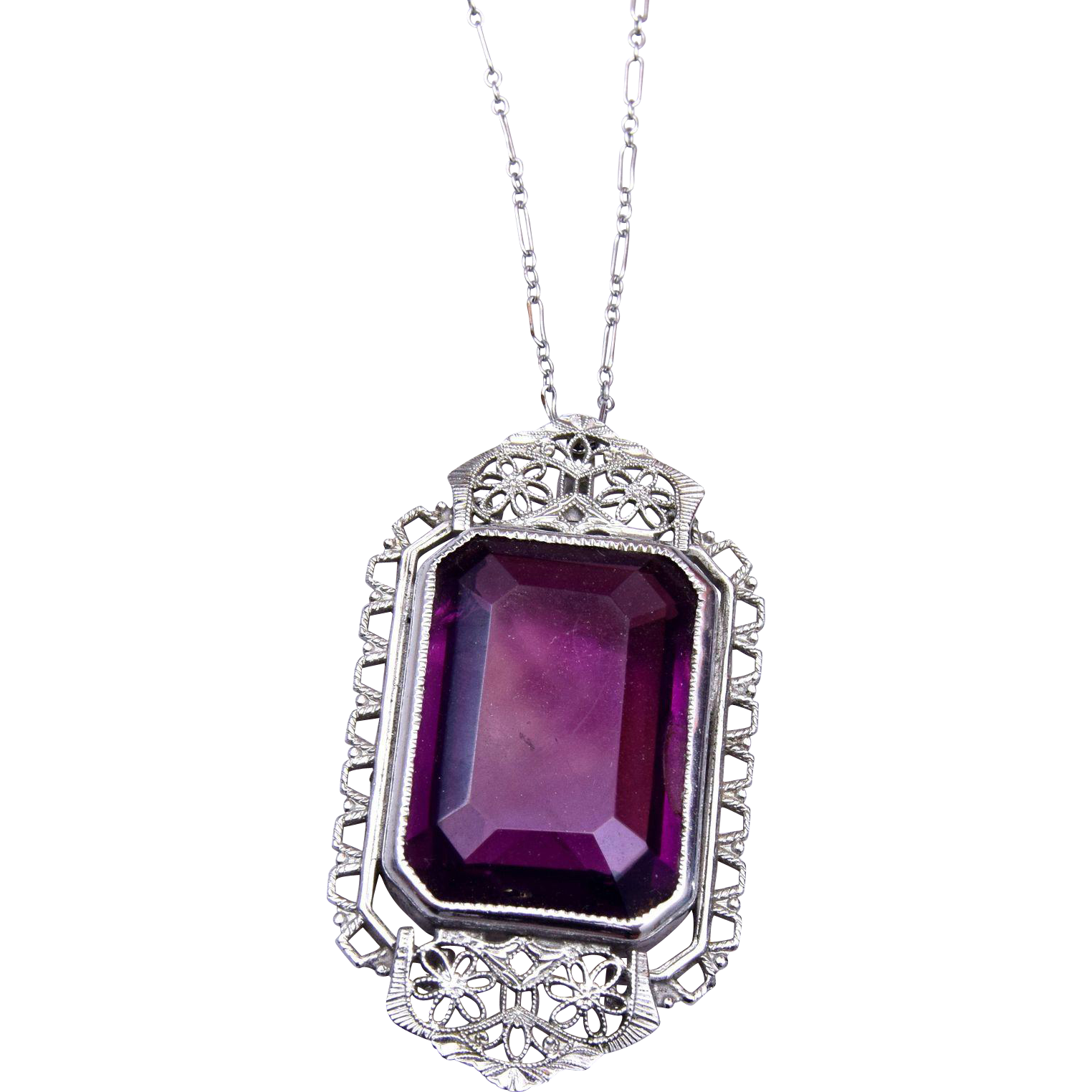 S.O. Bigney Co. Purple Filigree and Paper Clip Chain Necklace