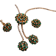 Green Prong Set Rhinestone Necklace and Earring Set