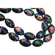 Teal and Pink Cloisonné Tied In Between Beaded Necklace