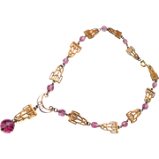 Pink Crystal and Gold Necklace