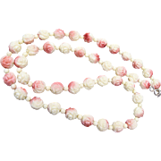 Cream Colored Glass Roses Necklace