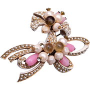 Fabulous Coro Seed Pearl and Glass Brooch