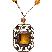 Topaz Glass and Crystal Necklace