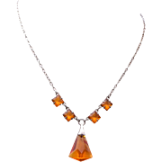 Topaz Crystal and Silver Necklace