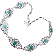 Green and White Enameled Necklace