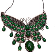 Large Green Butterfly Pendant Necklace