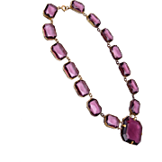 Faceted Purple Crystal Bezel Set Crystal Necklace