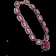 Faceted Purple Crystal Bezel Set Crystal Necklace