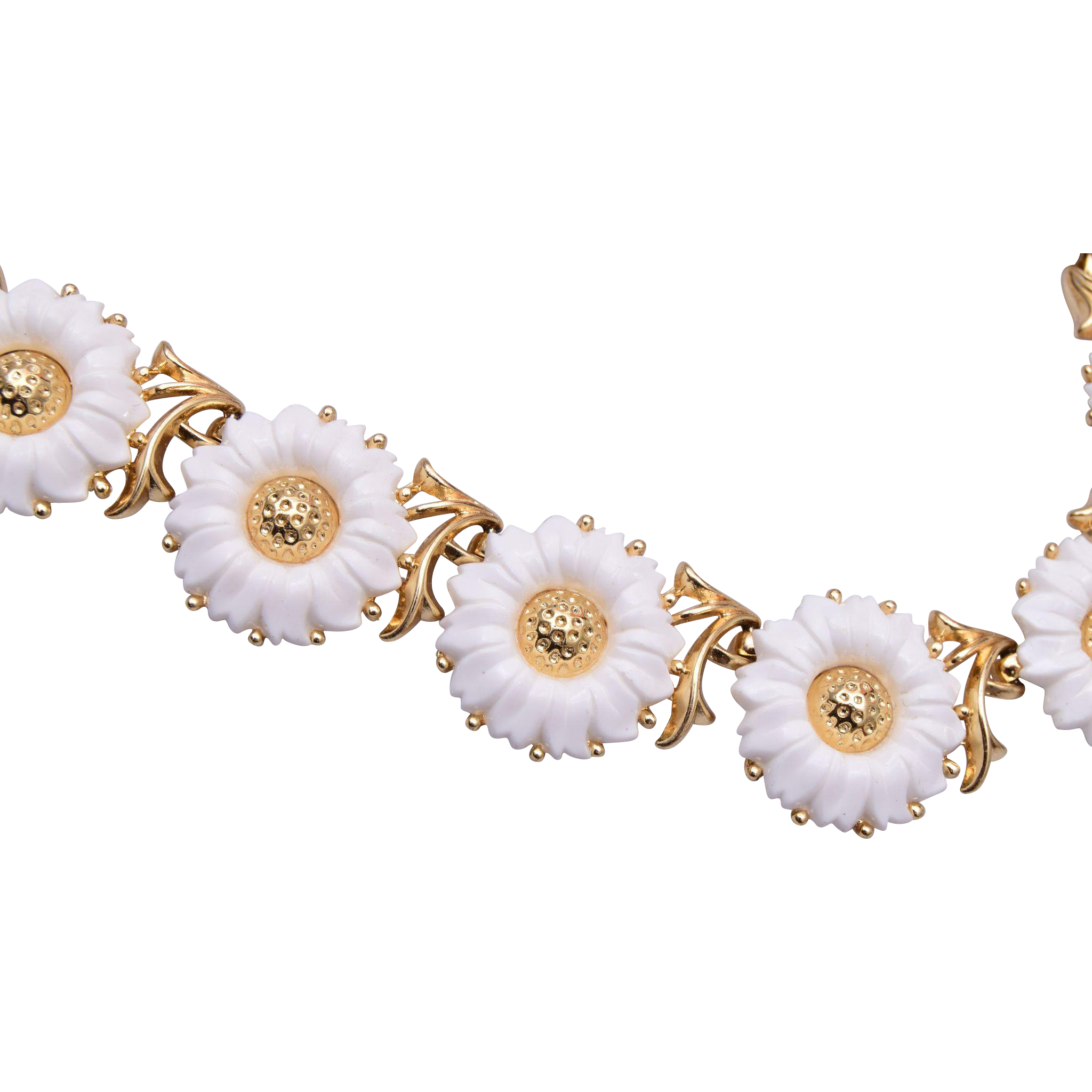 Trifari Molded Plastic White Flower Necklace From