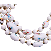 Trifari 3 Strand White Glass Beaded Necklace