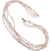 14kt Gold and Fresh Water Pearl 5 Strand Necklace