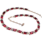 Lisner Red Rhinestone Necklace