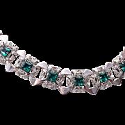 Green Rhinestone Necklace in Filigree Setting