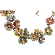Pastel Enameled Flower and Rhinestone Necklace