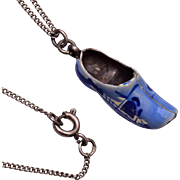 Sterling Dutch Shoe Blue Delft Necklace