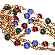 Long Red, Green and Blue Bezel Set Necklace
