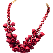 Red Wooden Bell Necklace - Fabulous!