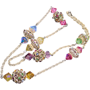 Pastel Rhinestone and Crystal Necklace
