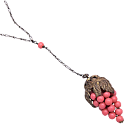 """Coral Grape Necklace on Paper Clip """"Y"""" Chain"""
