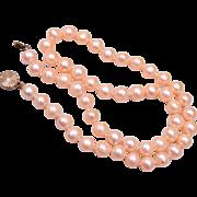 "Real Pink Pearls Tied In between – 17"""