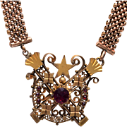 Gold Filled Mesh Chain and Pendant with Garnet Stones