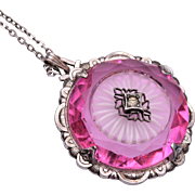 Molded Pink Glass and Camphor Glass Necklace