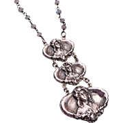 Labradorite Crystals and Sterling Tiered Art Nouveau Necklace