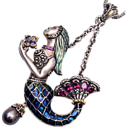 Barbara Bixby 18kt and Sterling Mermaid Necklace