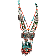 Turquoise and Coral Multi Strand Necklace