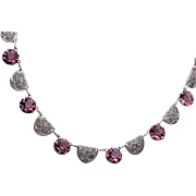 Purple Open Back Crystal Necklace with Paper Clip Chain