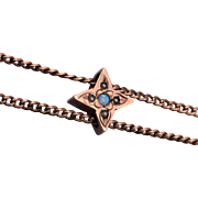 "Pearl and Opal Star Shaped Gold Filled Slide on 50"" Chain"
