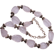 Carved Rock Crystal and Sterling Bali Beaded Necklace